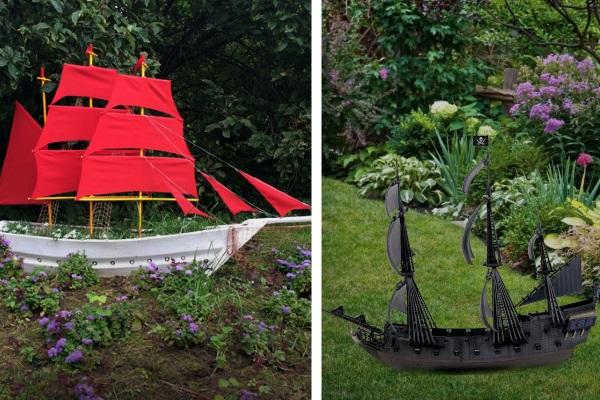 Садовая фигурка в виде корабля