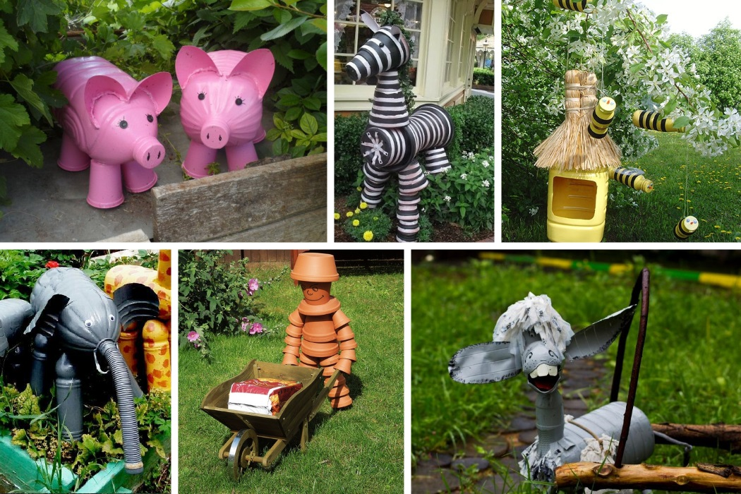 Садовые фигурки из пластиковых бутылок и цветочных горшков