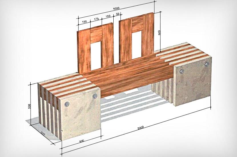 Деревянная лавка с бетонными опорами
