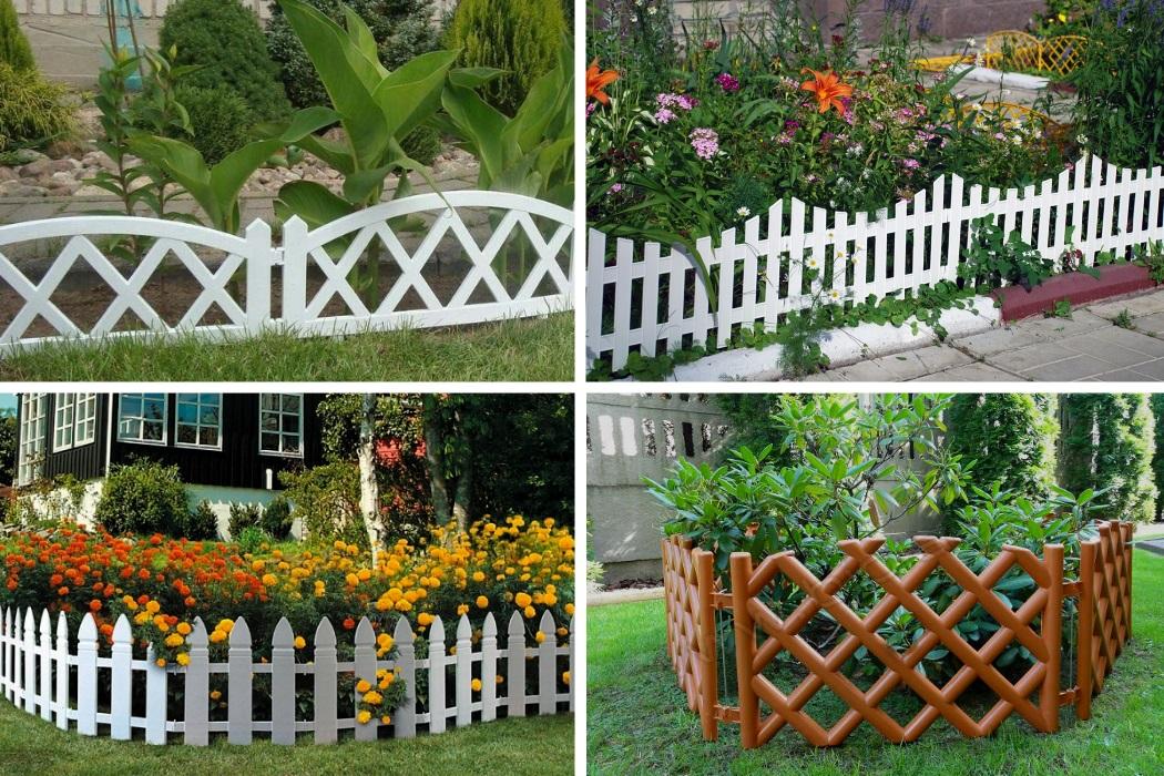 Покупной пластиковый садовый заборчик